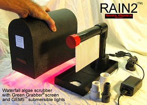 RAIN2 Pole Mountable Waterfall Algae Scrubber ATS with Green Grabber screen and GEM5 lights - 2 cubes a day feeding