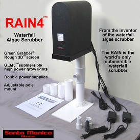 RAIN4 Pole Mount Waterfall Algae Scrubber ATS with Green Grabber screen, GEM5 lights, and pole mount - 4 cubes a day feeding